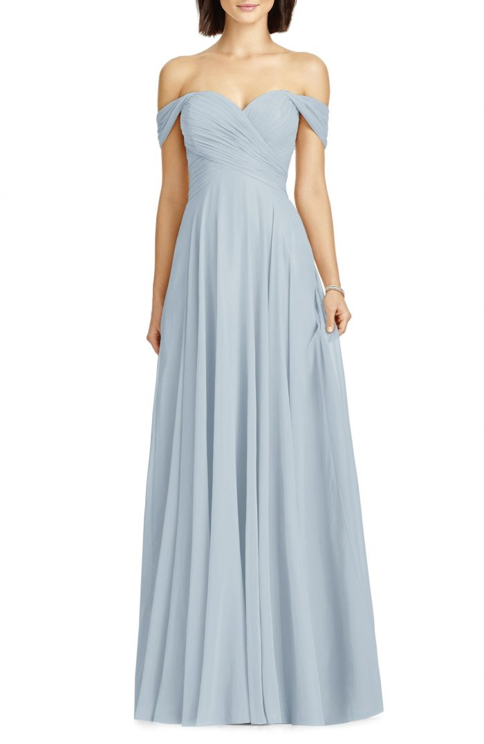 1d0ebeebdc Dessy Collection Lux Off the Shoulder Chiffon Gown