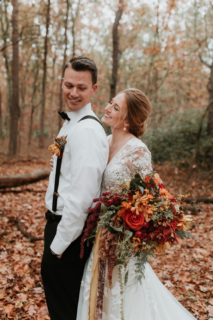 The Fall Color Palette Of This Frost Woods Park Wedding Inspiration