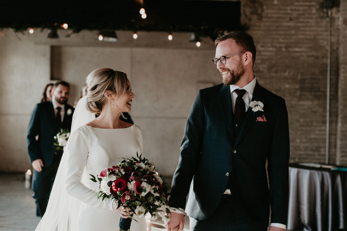 Timeless And Intimate Winter Edmonton Wedding At The Foundry Room Junebug Weddings