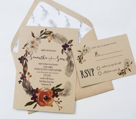 Fall Wedding Invitations: 40 Fall Wedding Invitations From Etsy For Your Autumnal