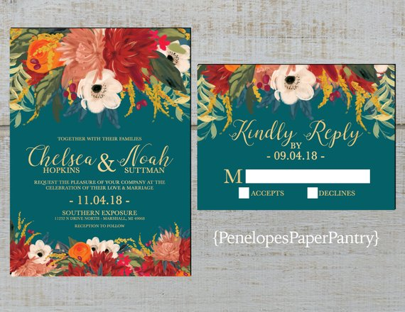 40 Fall Wedding Invitations From Etsy