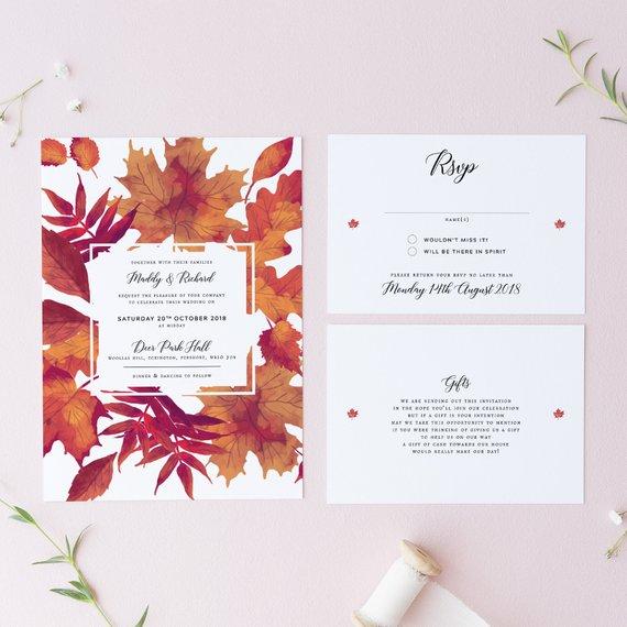 Autumn Foliage Folded Wedding Invitations Rustic Autumnal Concertina Invites