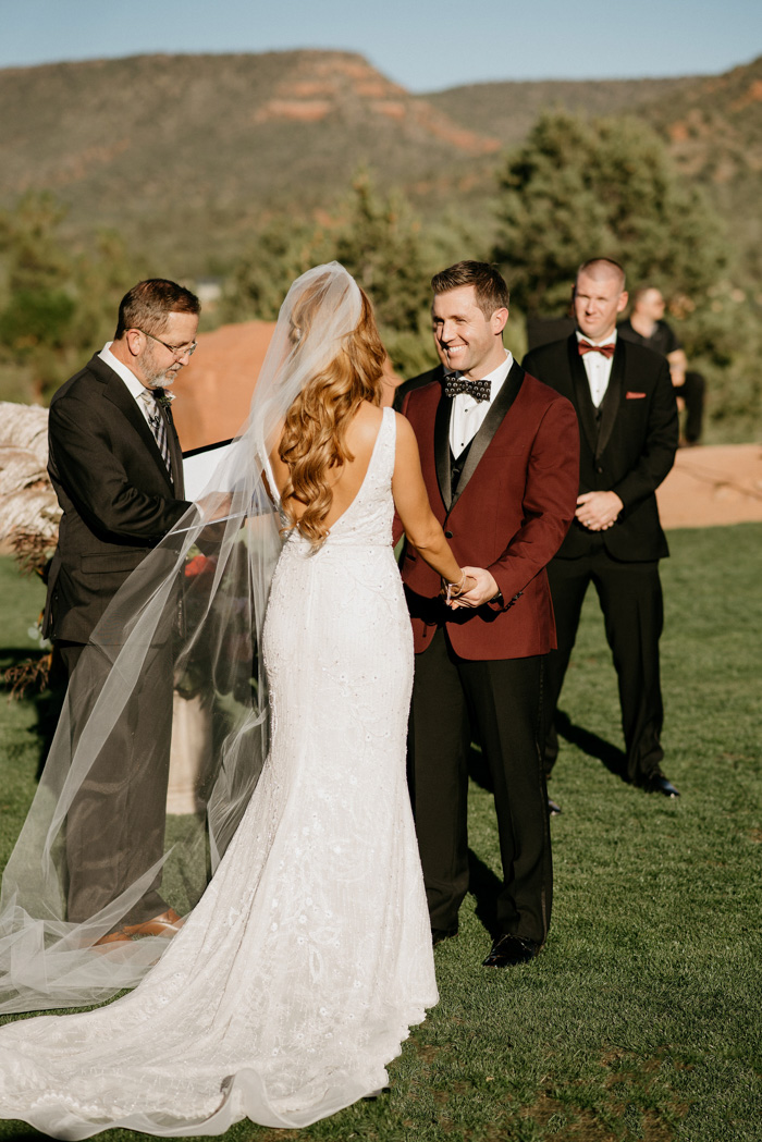 Burgundy Black And Champagne Wedding At Sedona Golf Resort Junebug Weddings