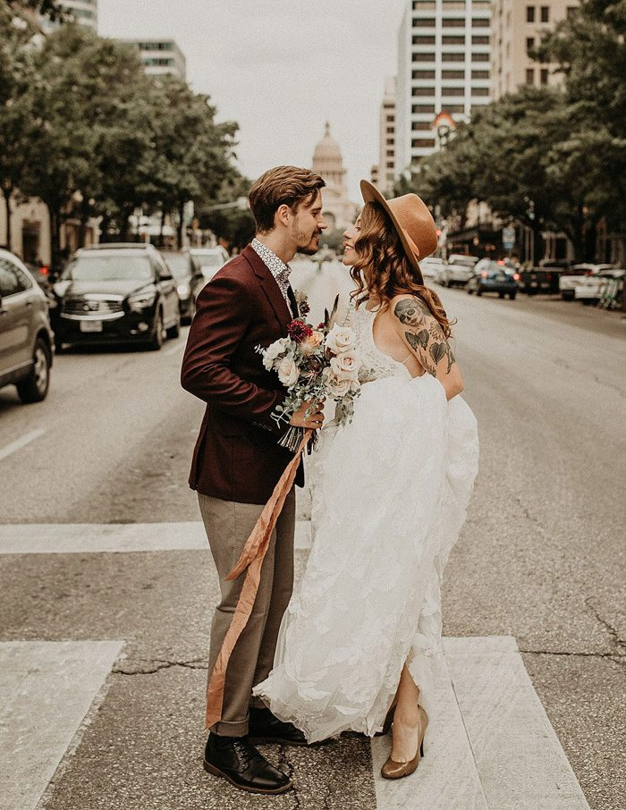 4b9b981a photo by Nikk Nguyen Photo, floral design by Wildly Cultivated, wedding  dress by Rue De Seine via Unbridaled, hat byGoorin Bros.; see more from  this wedding ...