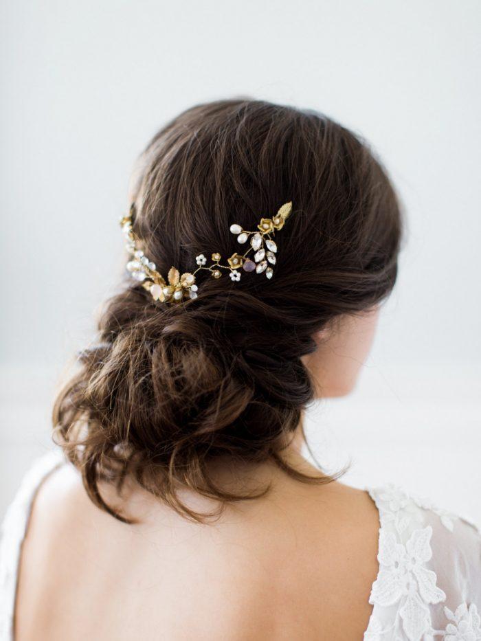 Wedding hair comb Edwardian style headpiece Leaf hairpiece Hair comb for wedding Gold hair comb