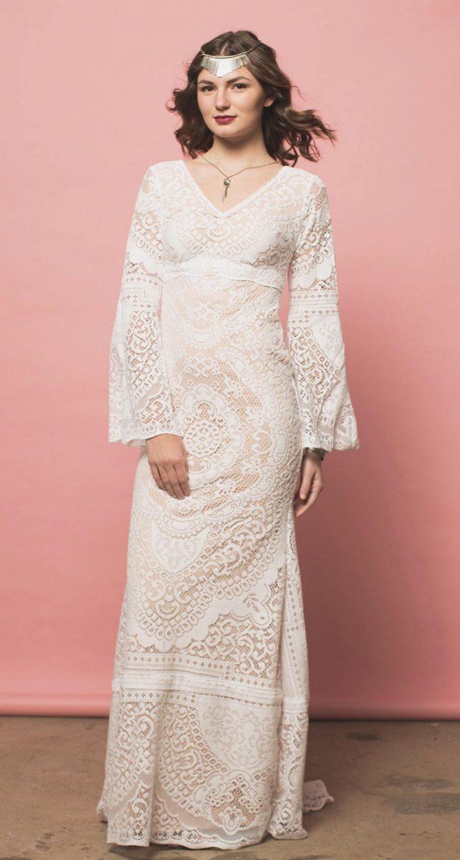 bell sleeve boho wedding dress e18df