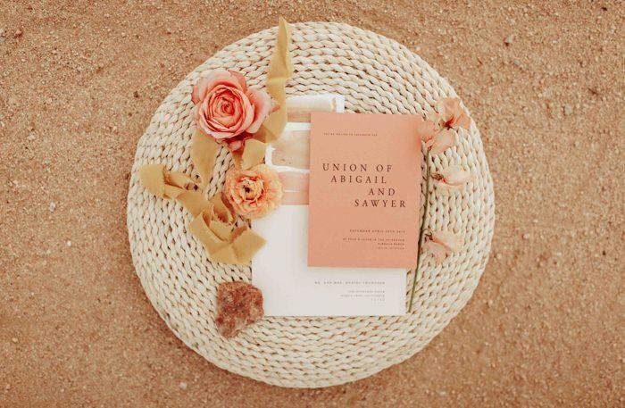 Wedding Invitation Suite Modern Wedding Invitations Peach and Grey Invites Elegant Floral Wedding Invitations Simple Wedding Invitations