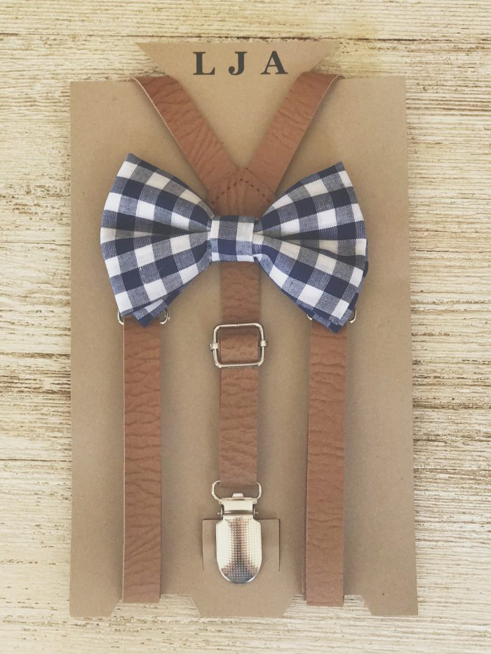 f66255d6a2b6 Gingham Bow Tie and Tan Leather Suspenders Set by London Jae Apparel