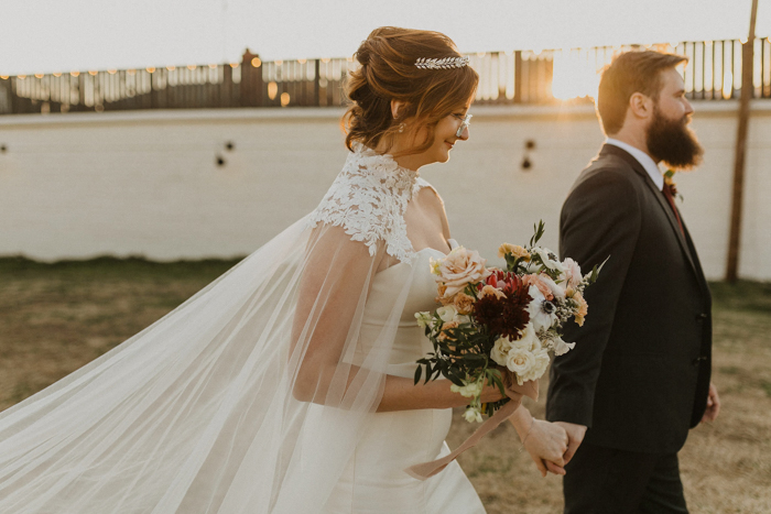 The Bridal Cape In This Tulsa Wedding At The Pearl District