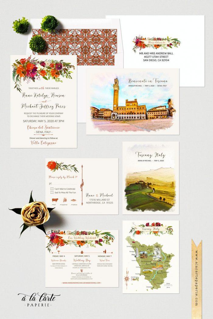 address wedding invitations - bespoke handmade wedding invites, siena