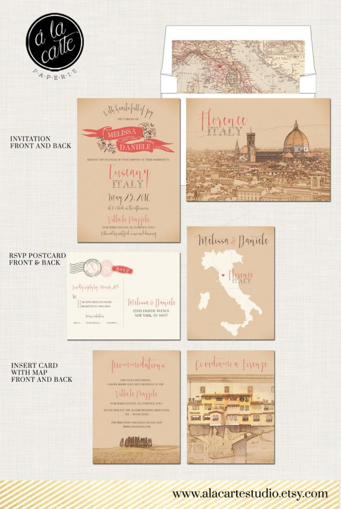 address wedding invitations -  stationery created to highlight exciting locations around the world. - florence