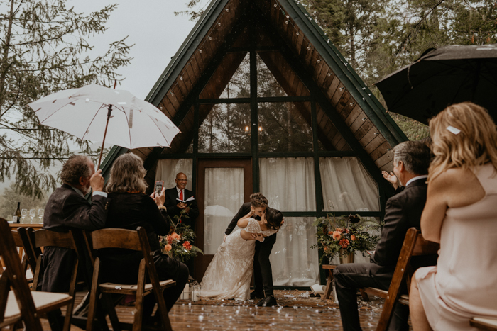 Burgundy And Gold Pnw Wedding At Cozy River Cabin At Mount
