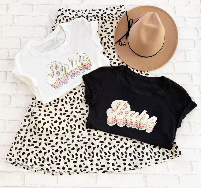 retro bachelorette party shirts and hat